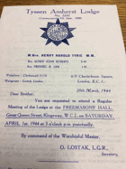 Tyssen Amherst Lodge. No. 2242 ORIGINAL DOCUMENT!