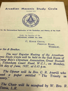 Arcadian Lodge. No. 2696 ORIGINAL DOCUMENT!