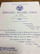 Middlesex Masters Lodge. No. 3420 ORIGINAL DOCUMENT!