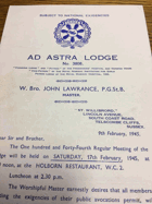 Ad Astra Lodge. No. 3808 ORIGINAL DOCUMENT!