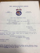 The Anglo-Dutch Lodge. No. 1 ORIGINAL DOCUMENT!