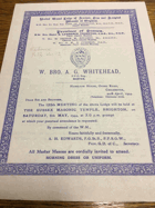 Sussex Masters Lodge. No. 3672 ORIGINAL DOCUMENT!