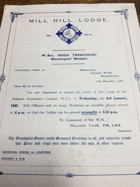 Mill Hill Lodge. No. 3574 ORIGINAL DOCUMENT!