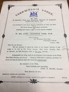 Cornwallis Lodge. No. 1107 ORIGINAL DOCUMENT!