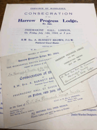 Harrow Progress Lodge. No. 5964 ORIGINAL DOCUMENTS!