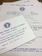 Essex Masters Lodge. No. 3256 ORIGINAL DOCUMENTS!