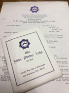 Jubilee Masters Lodge. No. 2712 ORIGINAL DOCUMENTS!